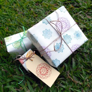 handmade gift wrap using wood block print stamps.