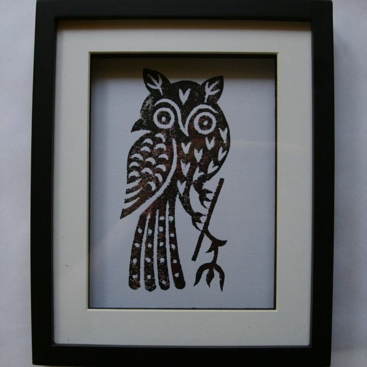 Art - Owl Framed Print - Block Printing