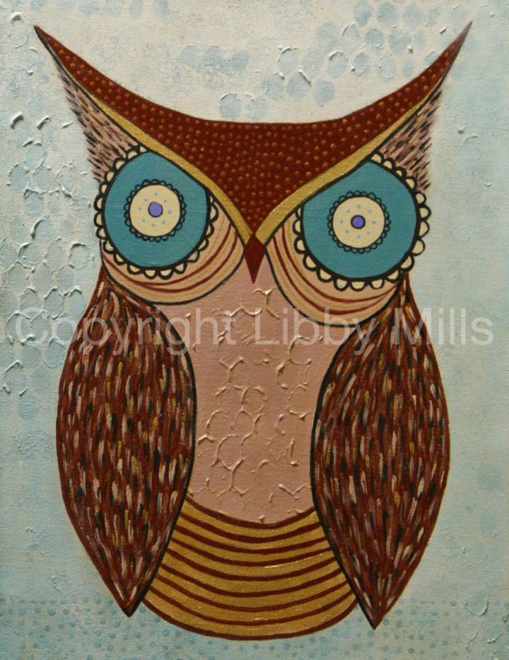 Owl Painting - Original artwork by artist Libby Mills