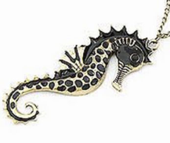 Ladies Fashion, Beach Lover Necklace Pendant, Black Enamel Seahorse