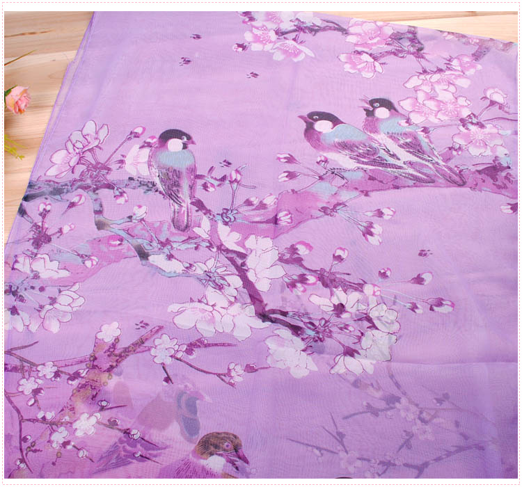 bird silk scarf - purple