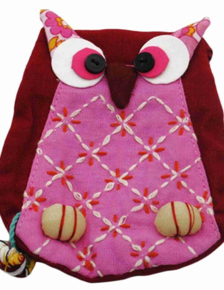 pink owl purse