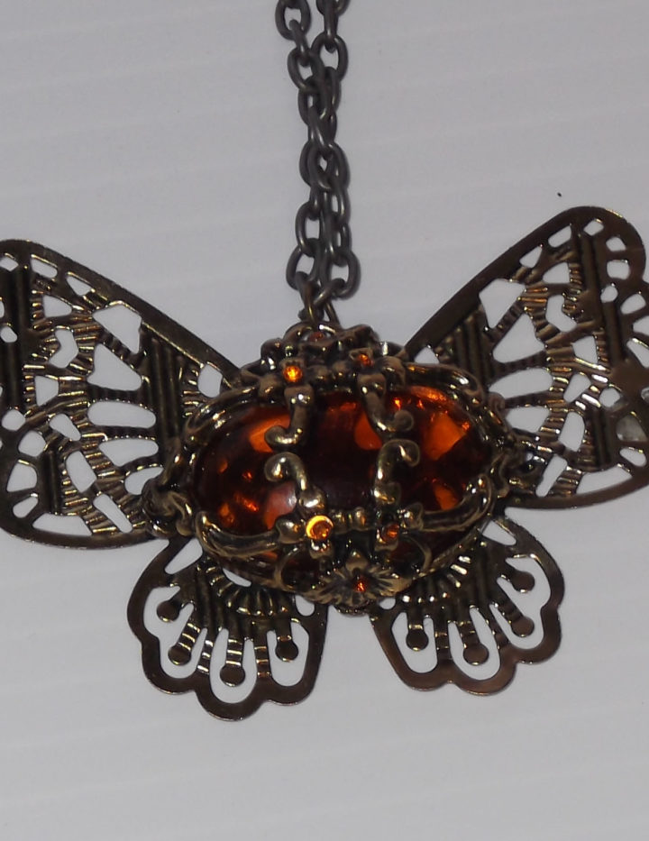 Ladies Fashion Necklace Pendant, Brass Butterfly with Amber Colored Centre Stone
