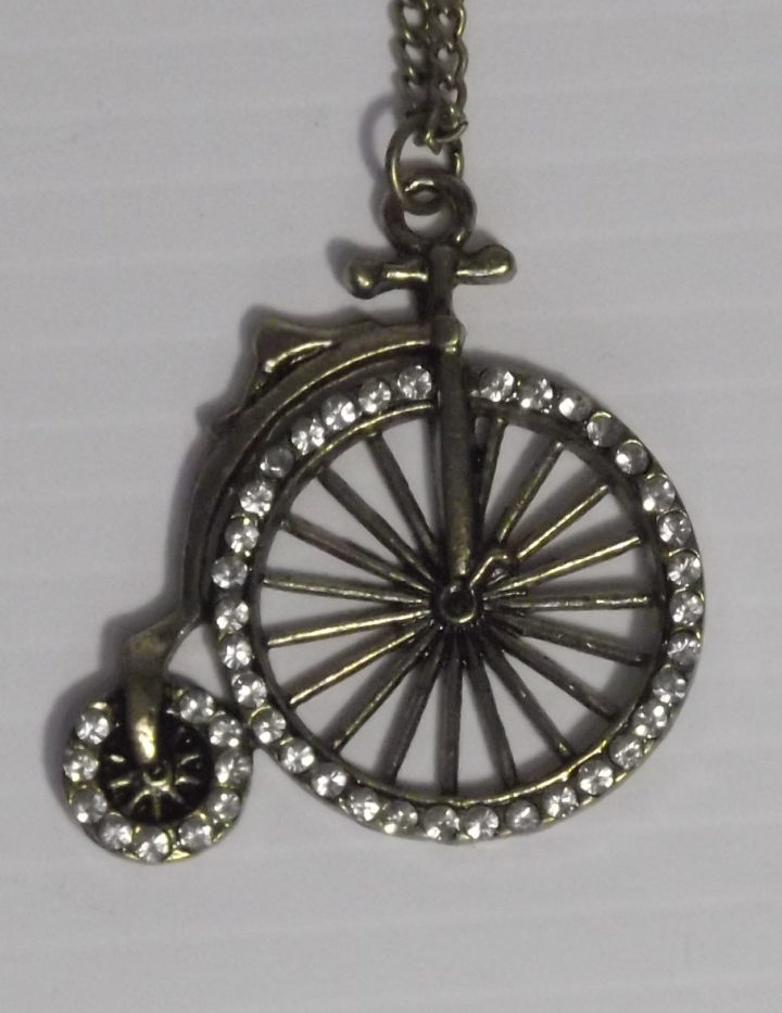 Vintage Bronze Fashion Necklace- with Penny-Farthing Bike Pendant