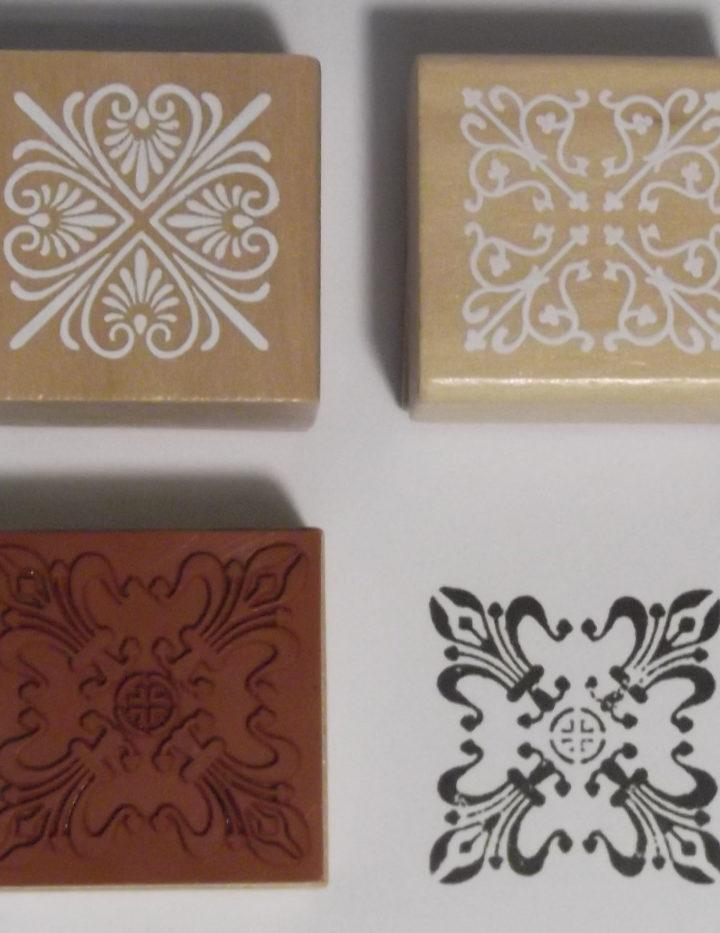 Wood Block Stamp, Flowers Stylized Set of 3