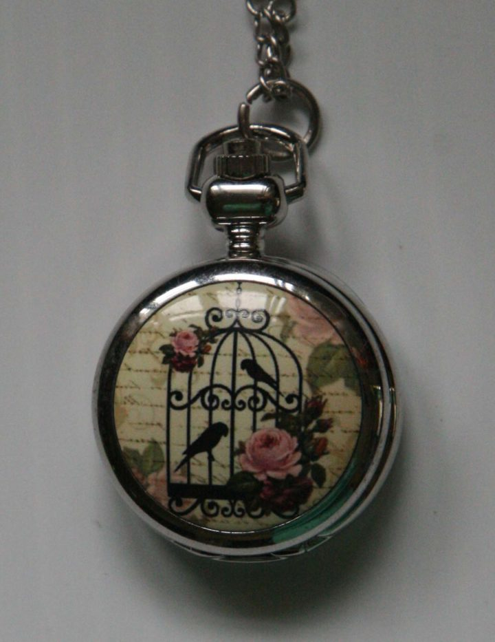 bird pocket watch necklace