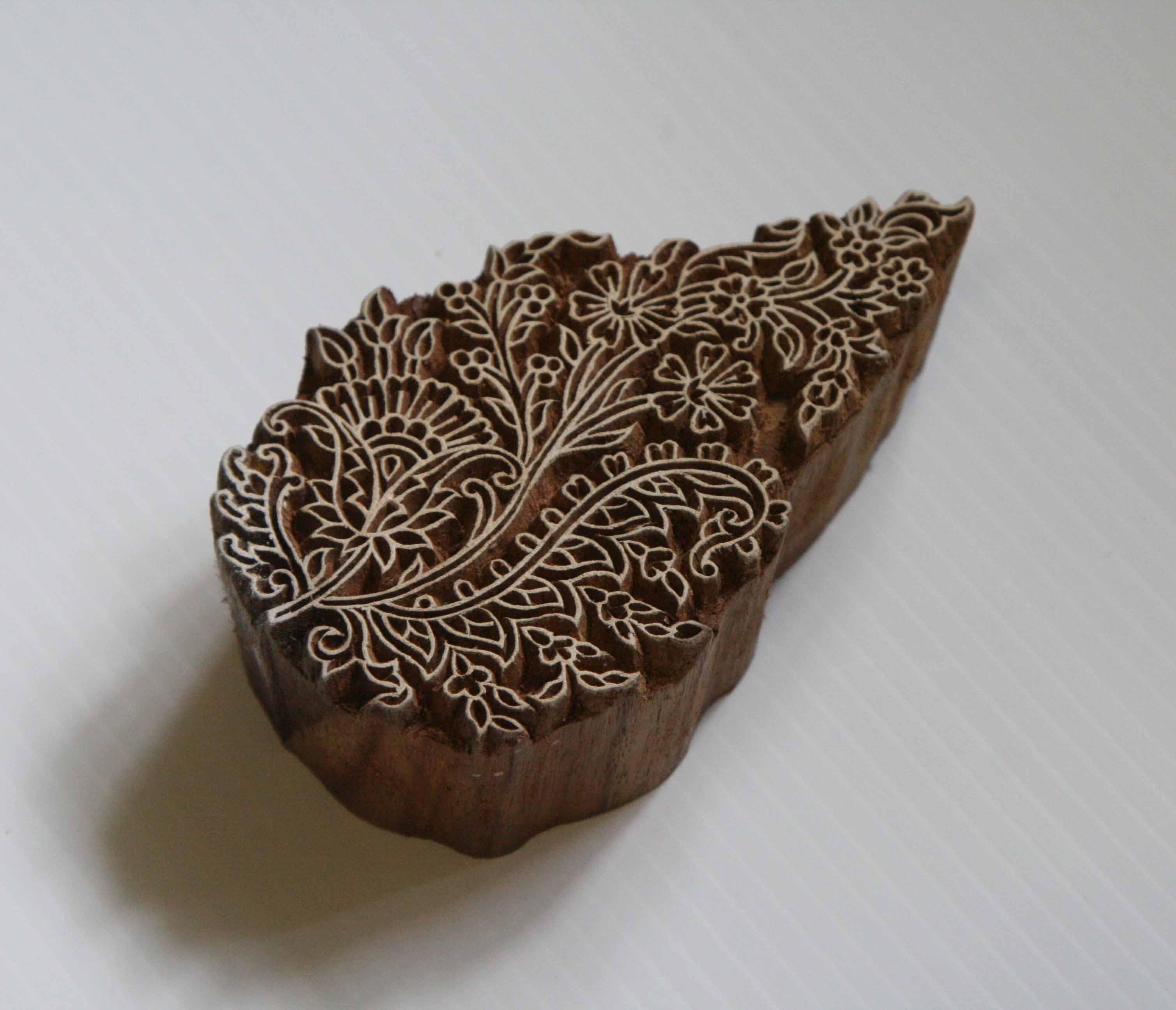 hand carved wooden stamp floral