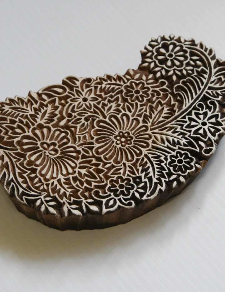 paisley floral wooden stamp
