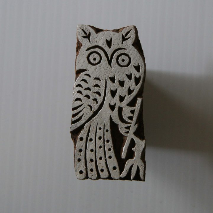 Owl Stamp - Wood Block - Hand Carved - India - Large