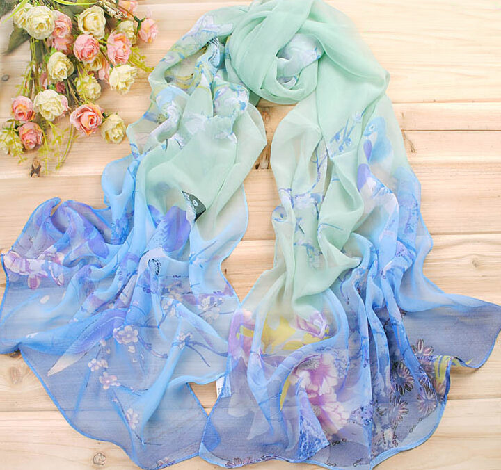 Bird Scarf – Silk – Blue/Green