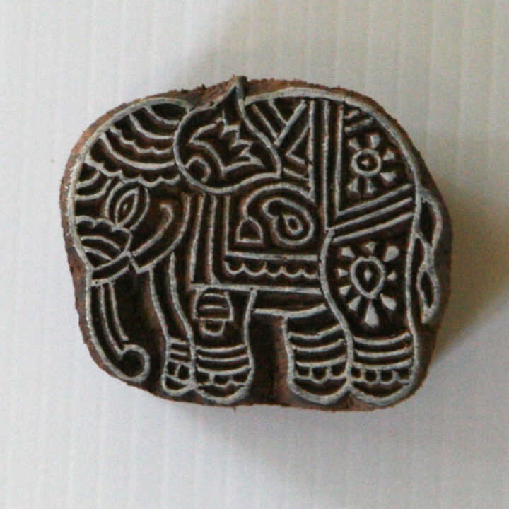 elephant wood block stamp