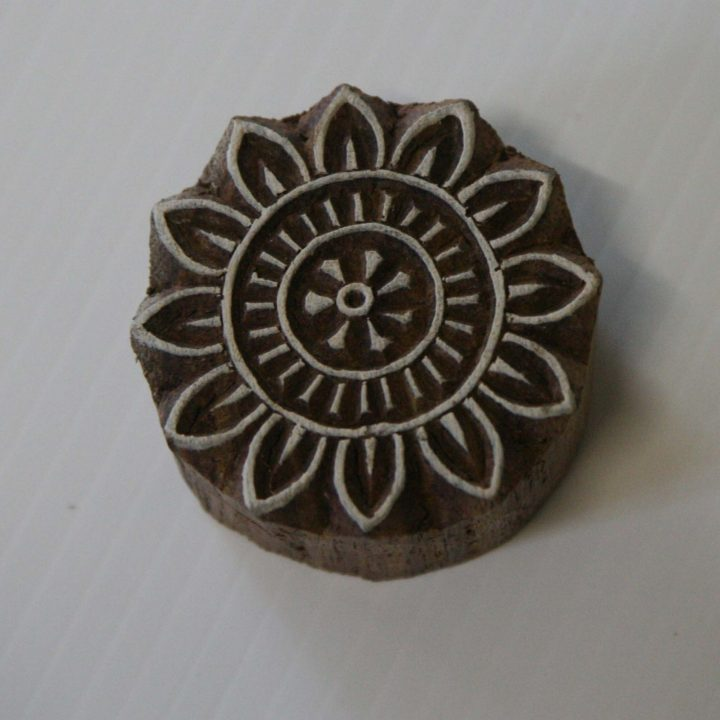 round floral wood stamp