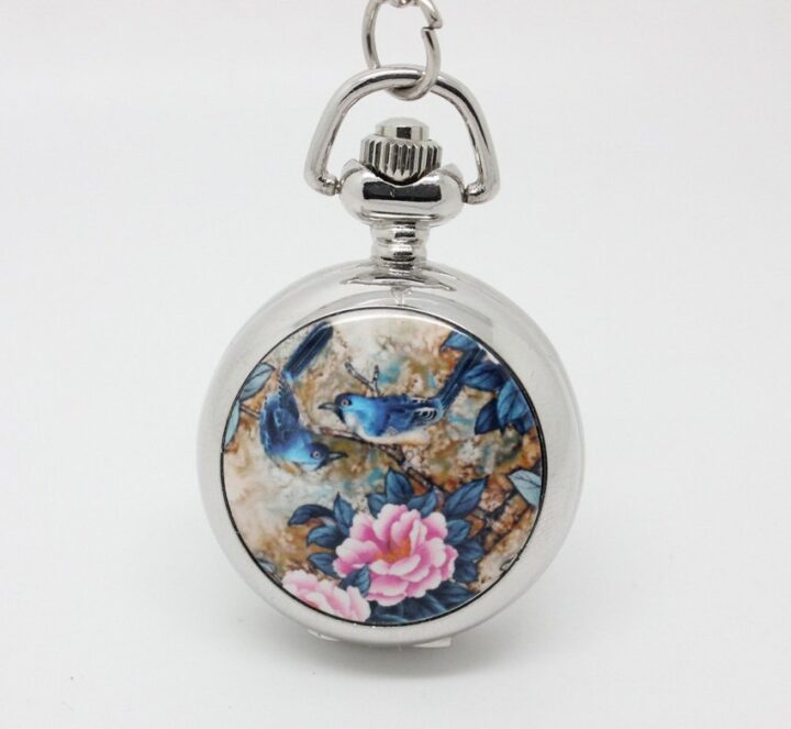 Bird Pocket Watch Necklace - Silver