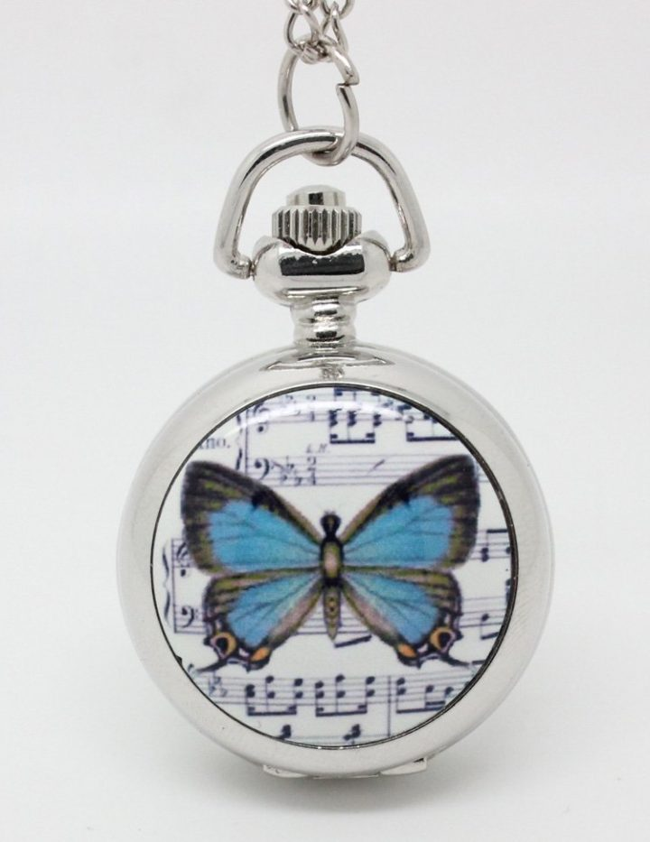 Butterfly Pocket Watch Necklace - Silver