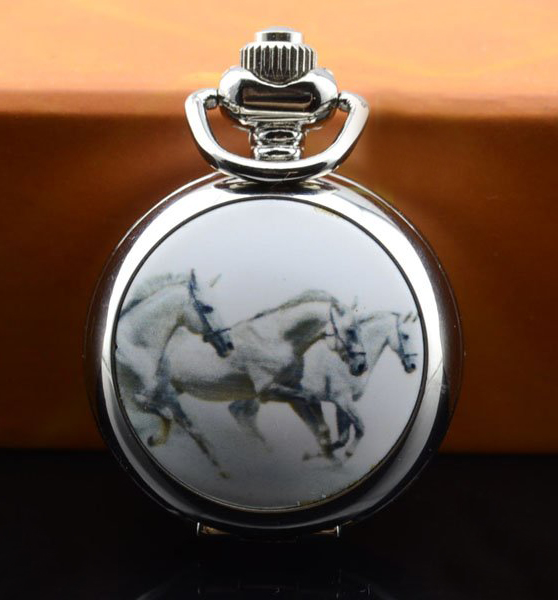 Horse Pocket Watch Necklace - Silver