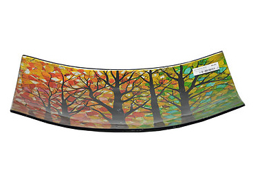 Autumn Tree Plate Glass Platter