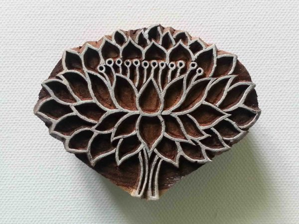 Lotus Flower Stamp - Wood Block Printing Stamp - Hand Carved - India