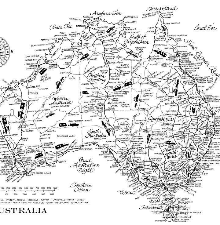Australia Map Teatowel