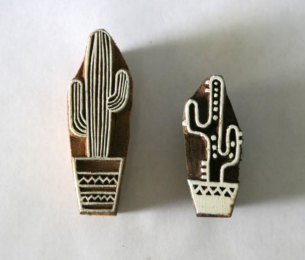 Cactus Wood Block Stamps - Set of 2 - Indian Hand Carved Wood