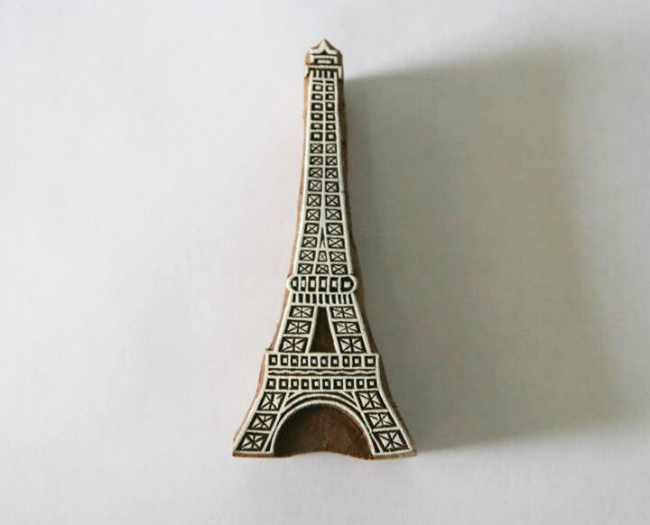 Eiffel Tower Paris Stamp - Indian Hand Carved Wood Block