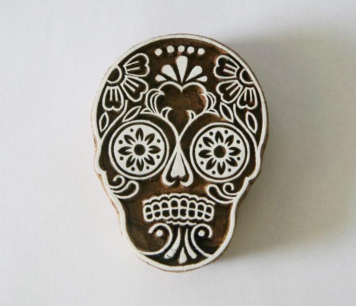 Sugar Skull Stamp - Indian Hand Carved Wood Block #2