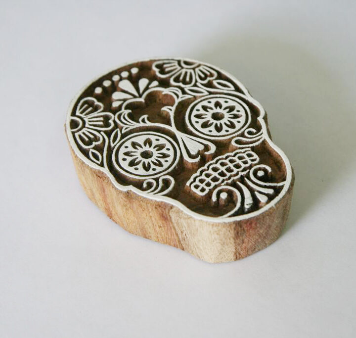 Sugar Skull Stamp - Indian Hand Carved Wood Block #2