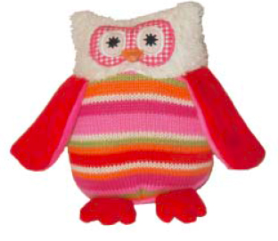 Owl Knit Rattle - Pink