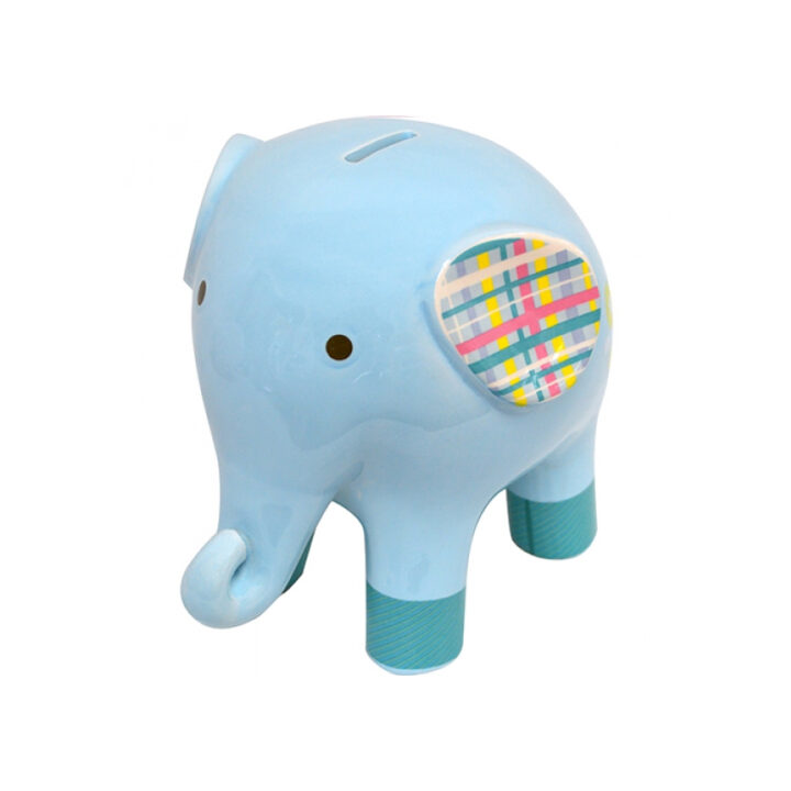 Blue Elephant Money Box Ceramic