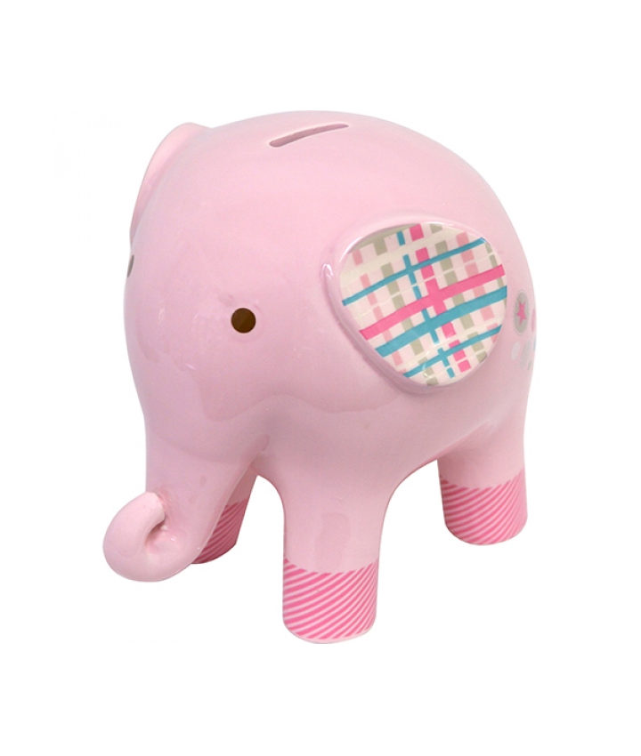 Pink Elephant Money Box Ceramic