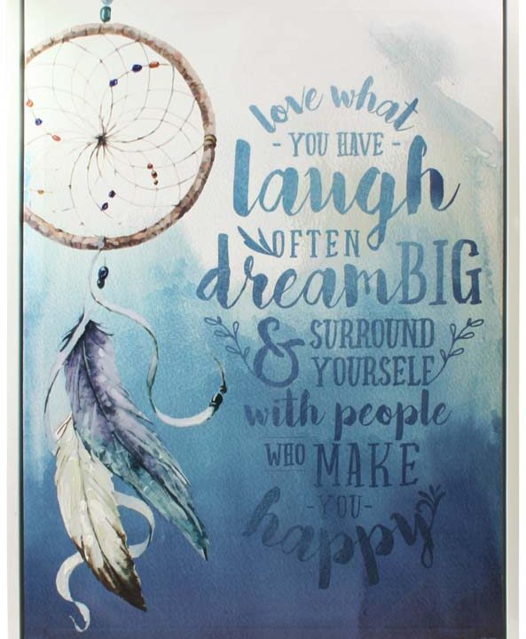 Freedom Framed Canvas - Feathers - Laugh - Blue