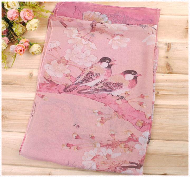Silk Scarf with Bird Print