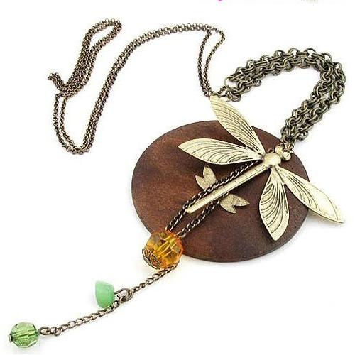 dragonfly necklace with beads and wood