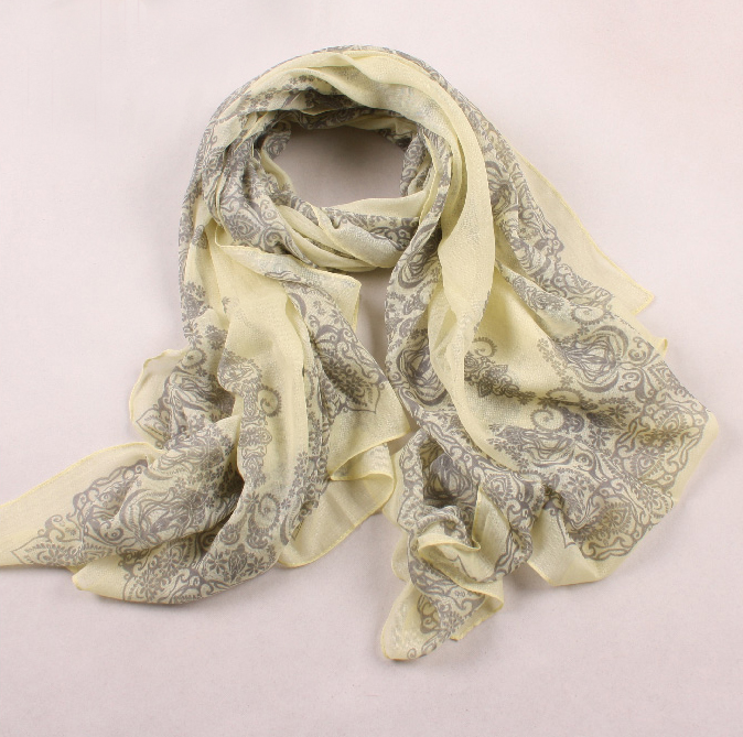 paisley scarf - yellow/grey