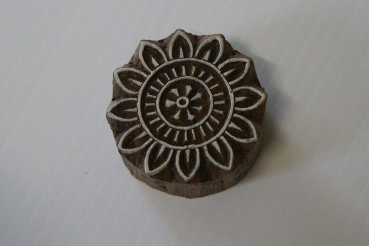 round floral wood stamp
