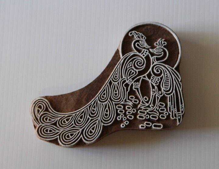 Wooden Stamp - Peacocks - Indian Textile Wood Block Printing Stamp