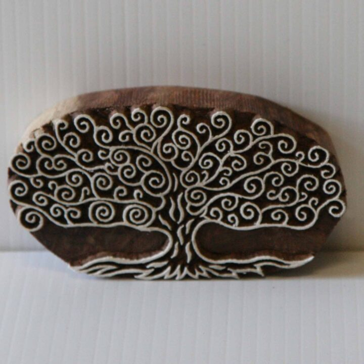 Indian Wood Block Printing Stamp - Hand Carved Tree Stamp