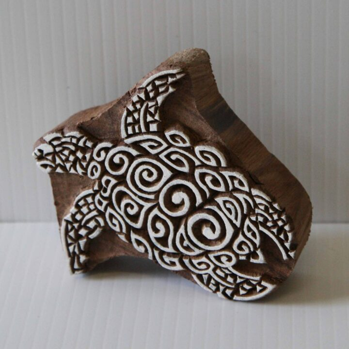 Turtle Wood Block Printing Stamp - Indian Hand Carved Turtle