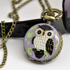 Owl Pocket Watch Necklace - Purple Antique Style Pendant