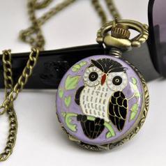 Owl Pocket Watch Necklace - Purple Antique Style Pendant