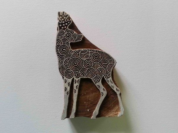 Indian Wood Stamp - Elk Wood Block Printing - Hand Carved Stamp - #2