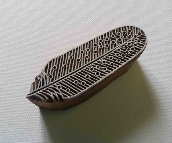 Feather Stamp - Wood Block Printing Stamp - Hand Carved - India - Small