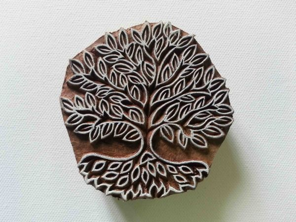 Tree Stamp - Indian Style - Hand Carved Wood Block Printing Stamp - #2