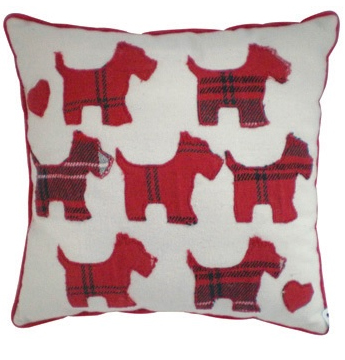 Scotty Dog Cushion - Red