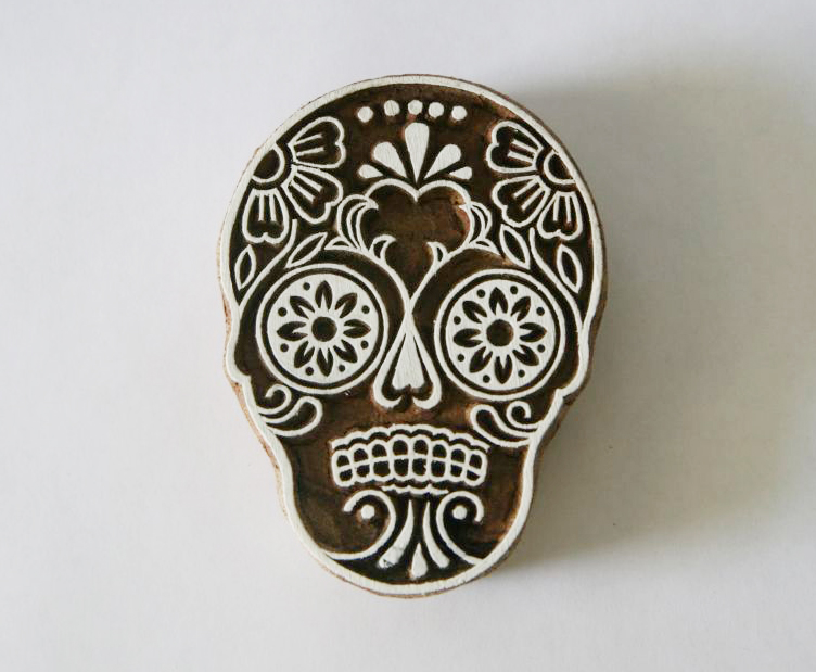 Sugar Skull Stamp Indian Hand Carved Wood Block 2