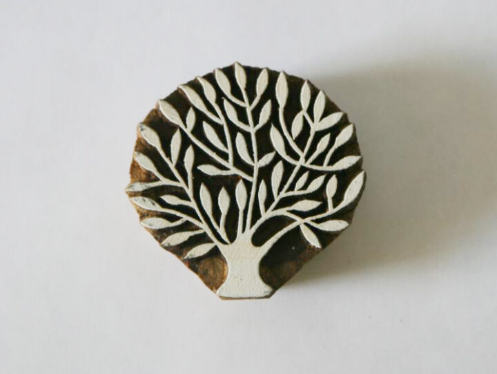Tree Stamp - Indian Hand Carved Wood Block #6