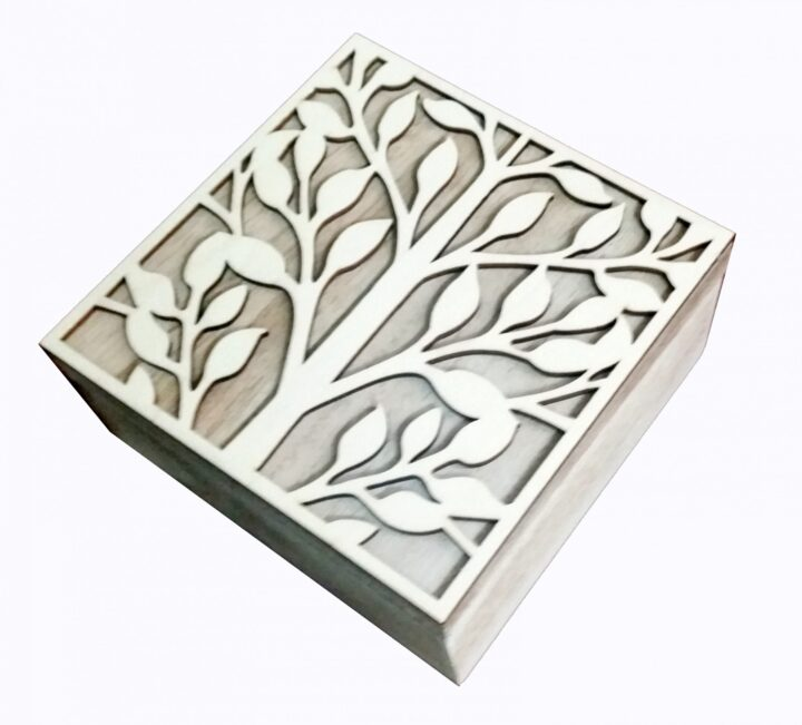Wooden Box with Carved Tree