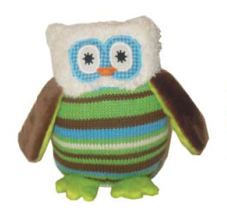 Owl Knit Rattle - Blue