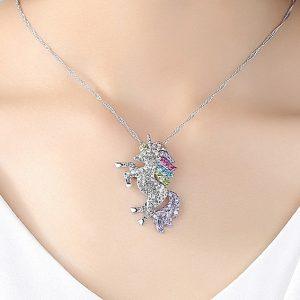 Unicorn Necklace Rhinestone