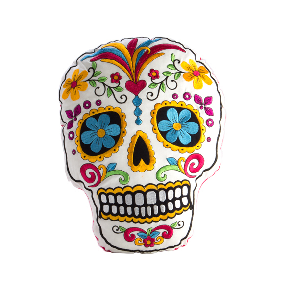 Skull Cushion - Day of the Dead Sugar Skull - Embroidered