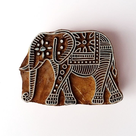 Elephant Wood Stamp - Craft Wood Block Hand Carved